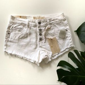 Altar'd State Button Front White Denim Shorts! NWT